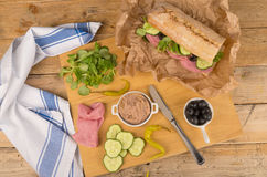 Mediterranean baguette Stock Photos