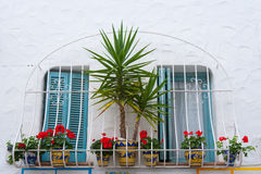 Mediterranean balconade typical from Spain in Peniscola Royalty Free Stock Photos