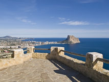Mediterranean Balcony. Panoramic vista of the Spanish Mediterranean coast from a stone viewpoint located on the top of a hill Royalty Free Stock Images