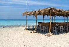 Mediterranean bar. Bar on the Mediterranean coast, blue sea water Stock Images
