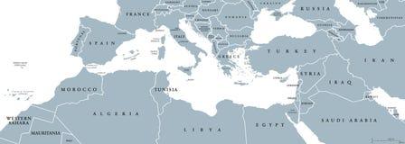Mediterranean Basin political map Stock Images