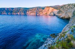 Mediterranean bay at sunset light in Assos, Kefalonia, Greece Royalty Free Stock Photography