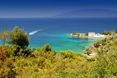 Mediterranean beach. Amazing secluded beach in Greece Stock Images