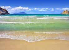 Mediterranean Beach. Golden beach at the Greek island of Milos Stock Photography