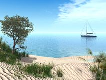 Mediterranean beach. 3d render of a typical mediterranean beach with a sailboat stock illustration