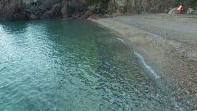 Mediterranean Beach Aerial Shoot stock footage