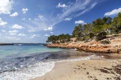 Mediterranean beach, Cala Gracioneta, town of Sant Antoni, Ibiza. Island,Spain royalty free stock photos