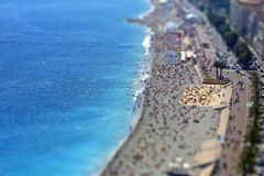 Mediterranean beach in City of Nice, France Stock Photos