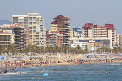 Mediterranean beach crowded with tourists Stock Photography