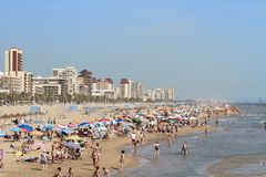 Mediterranean beach crowded with tourists Royalty Free Stock Photography