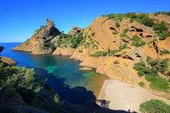 Mediterranean beach Figuerolles by Marseilles, France Royalty Free Stock Photos