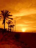 Mediterranean beach flaming sunrise Stock Image