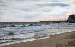 The beach of Garraf. Mediterranean beach in Garraf in the autumn. Province Barcelona, Catalonia, Spain Stock Photo