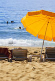 Mediterranean beach during hot summer day Royalty Free Stock Photos