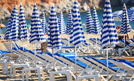 Mediterranean beach during hot summer day Stock Image