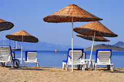 Mediterranean beach during hot summer day Royalty Free Stock Images