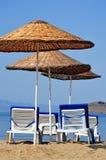 Mediterranean beach during hot summer day Royalty Free Stock Photo