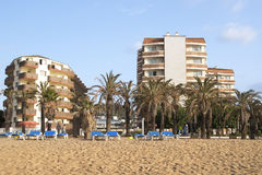 Mediterranean beach and hotels Royalty Free Stock Photography
