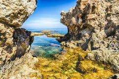 Mediterranean beach in Milazzo, Sicily, Italy. Mediterranean beach, beautiful seascape in Milazzo, Sicily, Italy royalty free stock photo