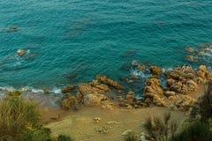 Mediterranean beach near Calella at the Costa Brava, Spain. Stock Photos