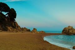 Mediterranean beach near Calella at the Costa Brava, Spain. Royalty Free Stock Photos