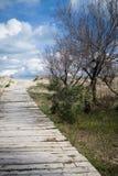 Mediterranean beach. Path in a mediterranean beach at Valencia coast Royalty Free Stock Images