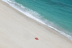 Mediterranean beach with red life ring in Almeria. Spain Stock Photo