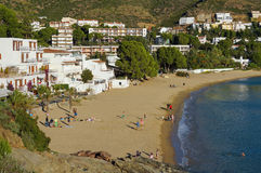 Mediterranean beach with rental apartments Spain. Mediterranean beach of L'Almadrava in Canyelles Grosses with rental apartments, Rosas, Costa Brava, Catalonia Royalty Free Stock Photo
