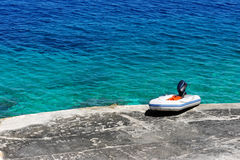 Mediterranean Beach And Rubber Dinghy Stock Images