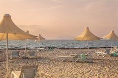 Mediterranean beach during sunset on Kos island Stock Photo