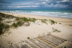 Mediterranean beach. At Valencia coast, with dunes Royalty Free Stock Images
