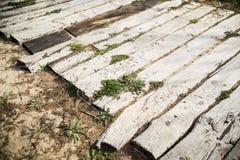 Mediterranean beach. Wood path in a mediterranean beach Royalty Free Stock Photos
