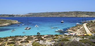 Mediterranean beach with yachts. In Maltese islands Royalty Free Stock Photography