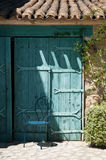 Mediterranean  blue door Stock Images
