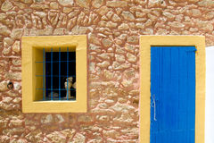 Mediterranean blue door and window in formentera Royalty Free Stock Images