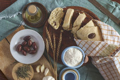 Mediterranean bread with ingredients Stock Image