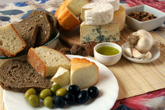 Mediterranean breakfast. Cheese, bread and olives for healthy mediterranean breakfast Stock Photography