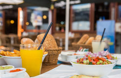 Mediterranean breakfast outdoors Royalty Free Stock Photography