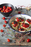 Mediterranean bruschetta with cherry tomatoes, olive and thyme Royalty Free Stock Photography