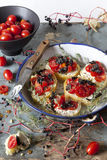 Mediterranean bruschetta with cherry tomatoes, olive and thyme on vintage plate Stock Photography