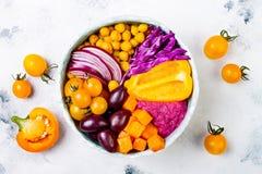 Mediterranean Buddha bowl with roasted pumpkin, olives, turmeric chickpeas, beet hummus, shredded red cabbage, tomatoes. Mediterranean Buddha bowl with roasted Royalty Free Stock Photos