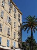 Mediterranean building, Ajaccio, Corsica. Mediterranean building and palm trees , Ajaccio, Corsica Royalty Free Stock Image