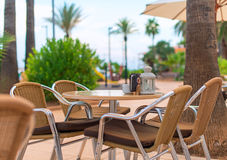 Mediterranean cafe. Royalty Free Stock Photos