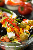 Mediterranean cheese and olives salad Royalty Free Stock Photography