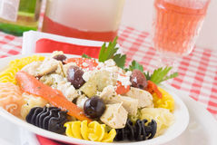 Mediterranean Chicken and Pasta. Dinner. Made with multi-colored pasta, kalamata olives, marianted artichoke hearts, boneless skinless chicken breast, feta Stock Photo