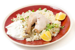 Mediterranean chicken pilaf meal Royalty Free Stock Photos
