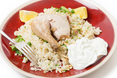 Mediterranean chicken pilaf with yoghurt Royalty Free Stock Image
