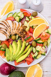 Mediterranean chicken salad with avocado . Royalty Free Stock Images