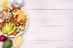 Mediterranean chicken salad with avocado . Royalty Free Stock Photos