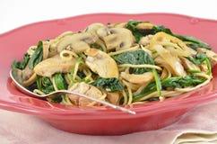 Mediterranean Chicken and Spinach Pasta Stock Photography